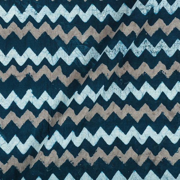 Dabu Cotton Mood Indigo Colour Chevron Hand Block Print 43 Inches Width Fabric