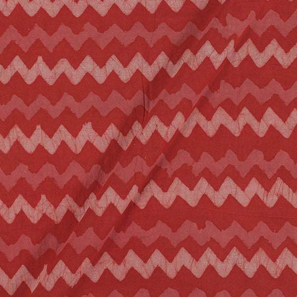 Dabu Cotton Brick Colour Chevron Hand Block Print 43 Inches Width Fabric