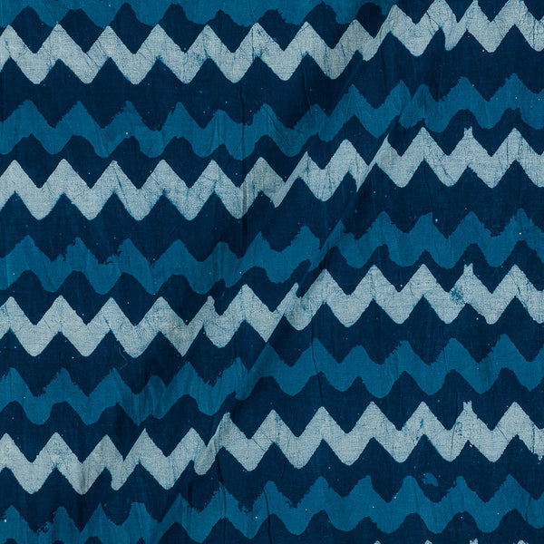 Dabu Cotton Indigo Colour Chevron Hand Block Print 43 Inches Width Fabric