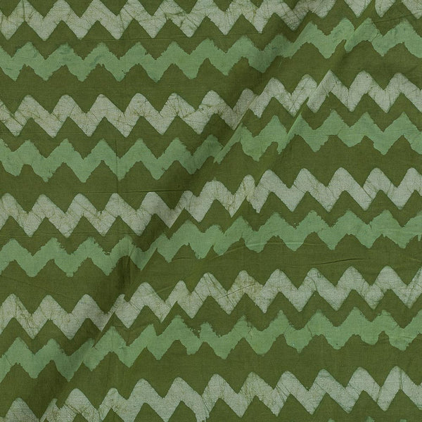 Dabu Cotton Olive Colour Chevron Hand Block Print 43 Inches Width Fabric
