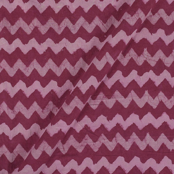 Dabu Cotton Rosewood Colour Chevron Hand Block Print 43 Inches Width Fabric