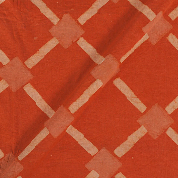 Dabu Cotton Orange Colour Geometric Hand Block Print 43 Inches Width Fabric