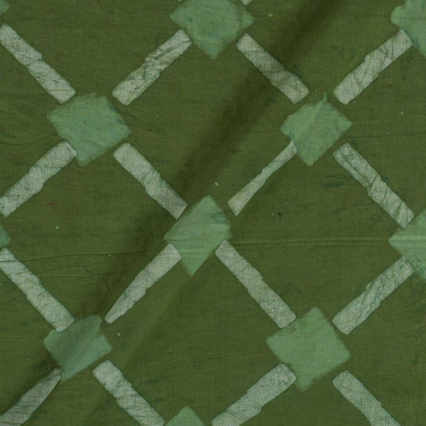 Dabu Cotton Olive Colour Geometric Hand Block Print 43 Inches Width Fabric