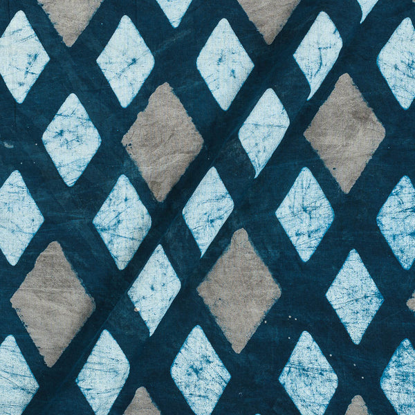 Dabu Cotton Mood Indigo Colour Geometric Hand Block Print 43 Inches Width Fabric