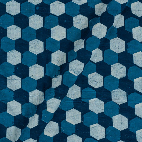 Dabu Cotton Indigo Colour Geometric Hand Block Print 43 Inches Width Fabric