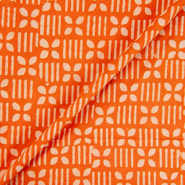Hand Block Dabu Cotton Orange Colour Geometric Print Fabric