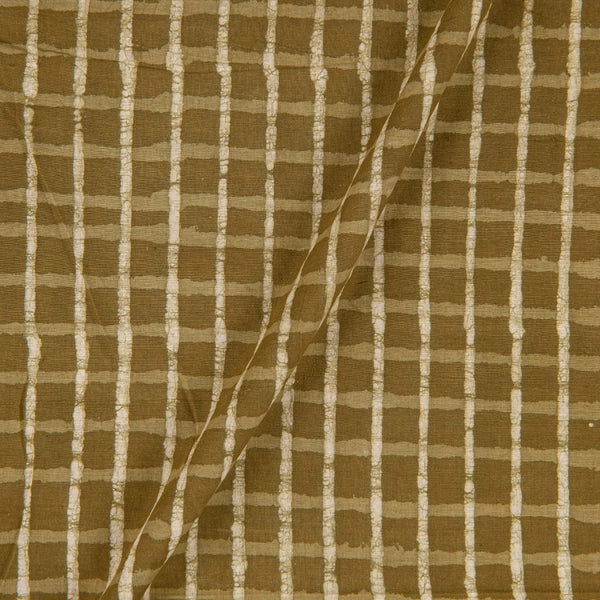 Hand Block Dabu Cotton Olive Colour Checks Fabric