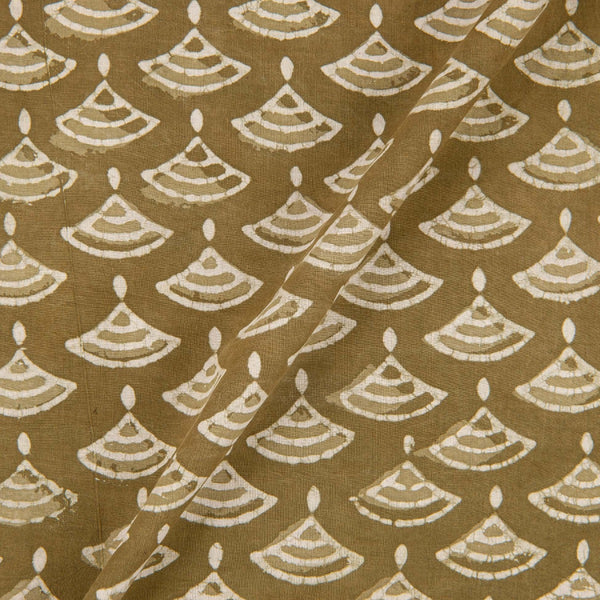 Hand Block Dabu Cotton Olive Colour Geometric Print Fabric