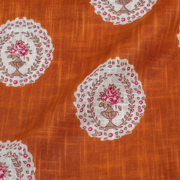 Rust Colour Geometric Print 43 inches Width Slub Cotton Fabric