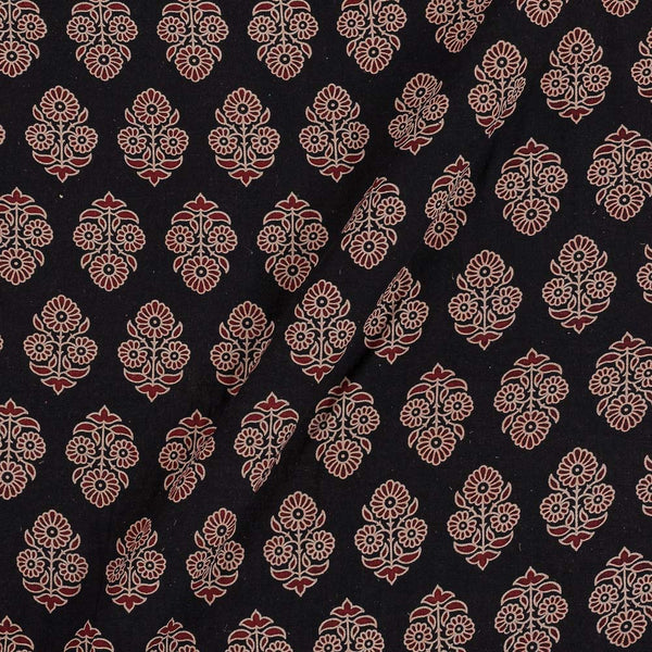 Gamathi Cotton Black Colour 43 Inches Width Floral Double Kaam Natural Print  Fabric