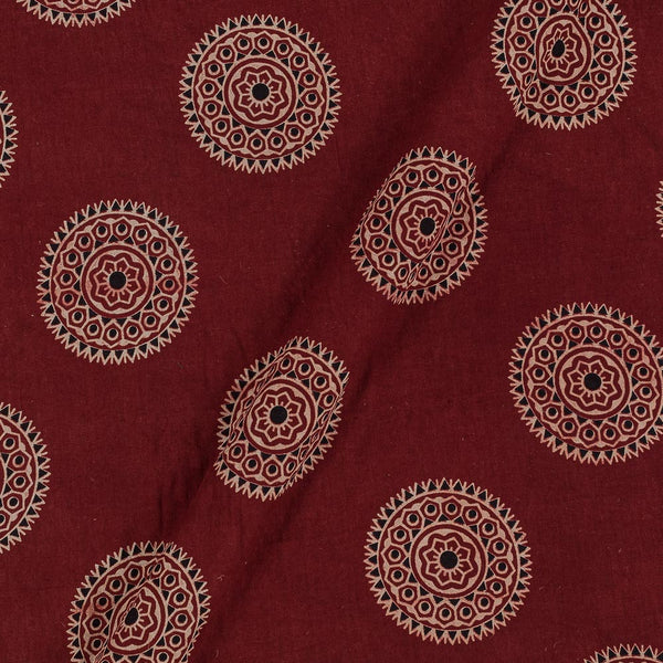 Gamathi Cotton Maroon Colour 43 Inches Width Mughal Double Kaam Natural Print Fabric