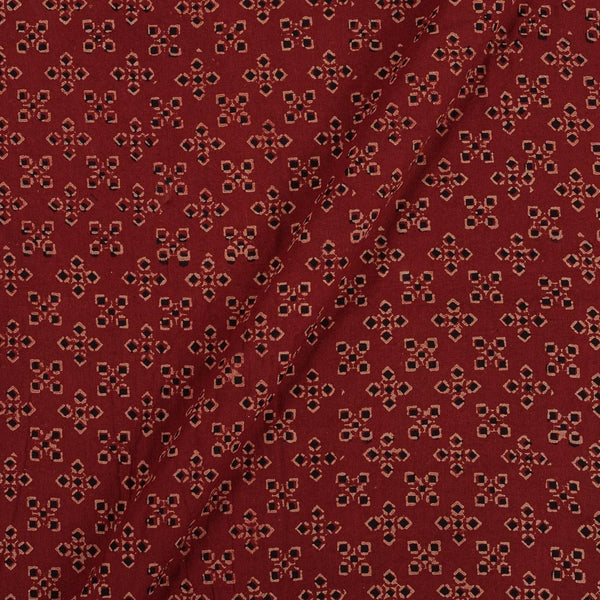Gamathi Cotton Maroon Color 43 Inches Width Geometric Double Kaam Vegetable Print Fabric