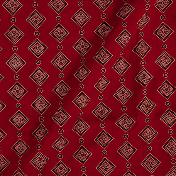 Gamathi Cotton Maroon Colour Double Kaam Natural Print  Fabric cut of 0.45 Meter