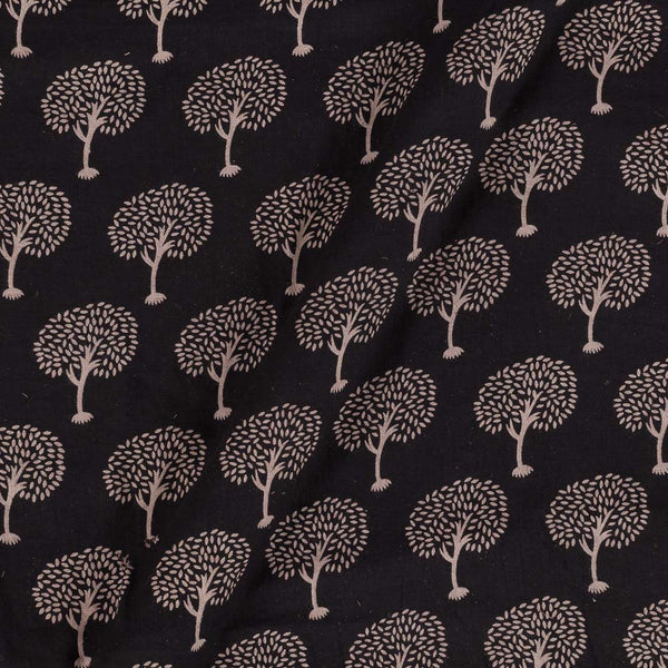 Gamathi Cotton Black Colour Double Kaam Natural Print  Fabric