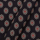 Gamathi Cotton Black Colour 43 Inches Width Double Kaam Floral Print Fabric