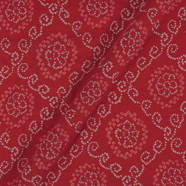 Soft Cotton Poppy Red Colour Bandhani Print 42 Inches Width Fabric