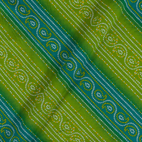 Soft Cotton Parrot Green And Blue Colour Bandhani Print 42 Inches Width Fabric