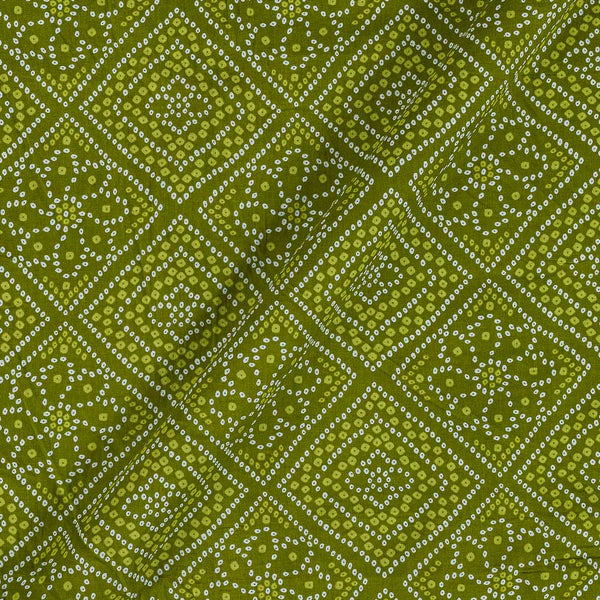 Soft Cotton Mehndi Green Colour Bandhani Print 42 Inches Width Fabric