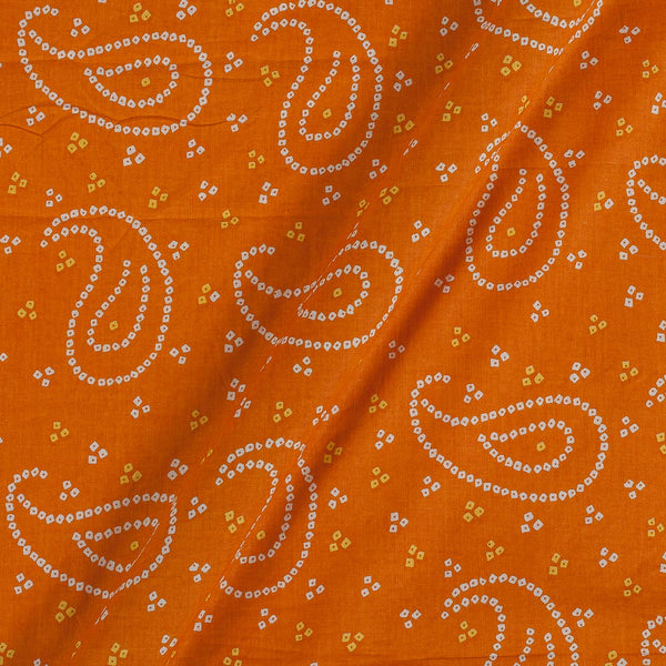 Soft Cotton Fanta Orange Colour Bandhani Print 42 Inches Width Fabric