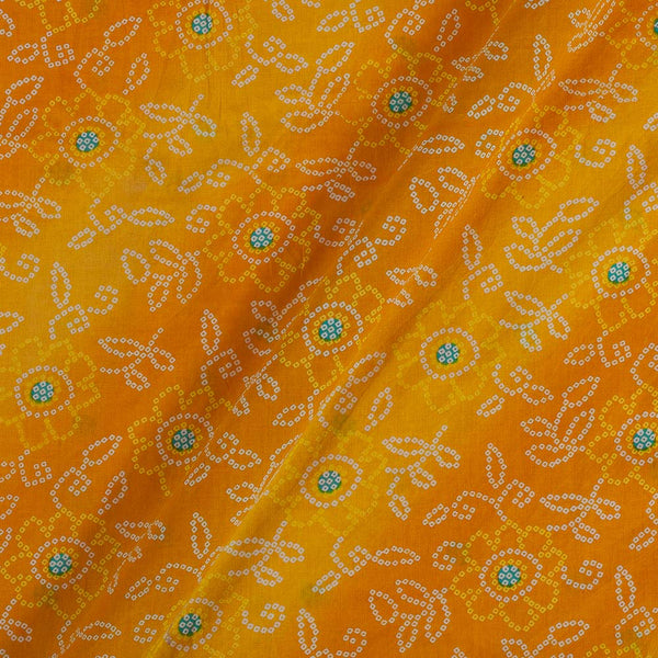 Soft Cotton Yellow Colour Bandhani Print 42 Inches Width Fabric