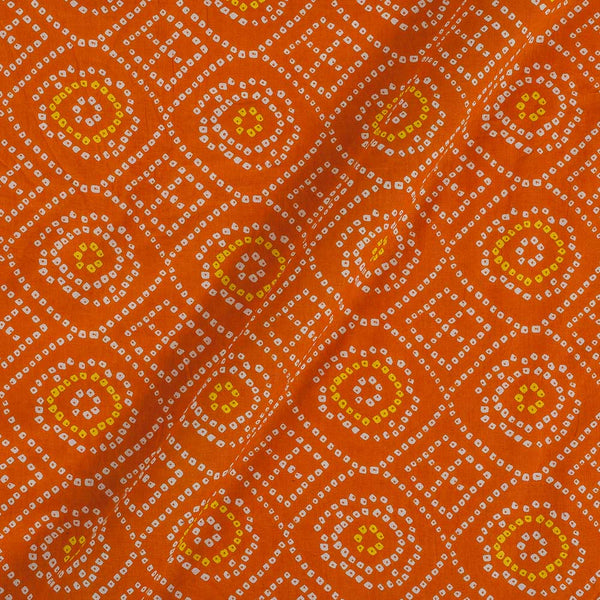 Soft Cotton Fanta Ornage Colour Bandhani Print 42 Inches Width Fabric