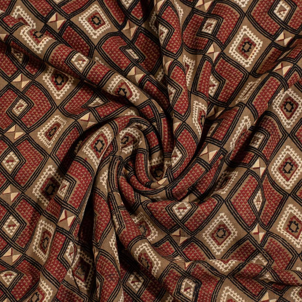 Brown Colour Ajrakh Print Flex Rayon Fabric