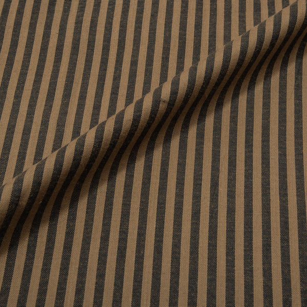 Raw Umber Colour Oxford  Stripes Cotton Fabric