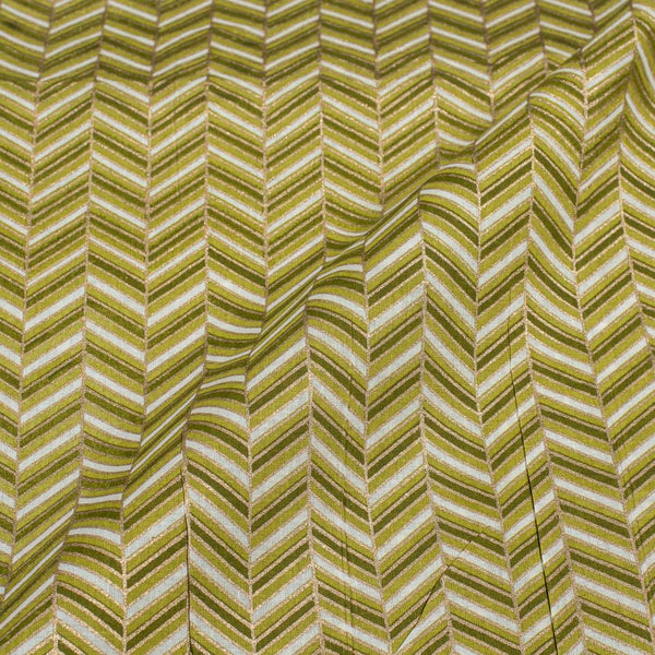 Mehndi Green Colour Gold Geometric Print Fine Cotton Fabric 43 inches Width
