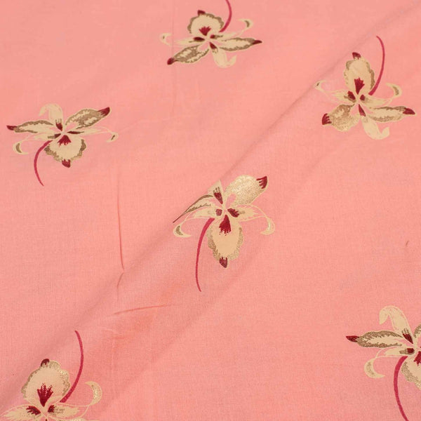 Pink Colour Gold Floral Print Fine Cotton Fabric 41 inches Width