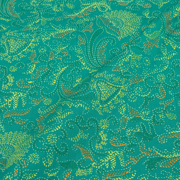 Sea Green Colour Gold Floral Jaal Print Fine Cotton Fabric 42 inches Width