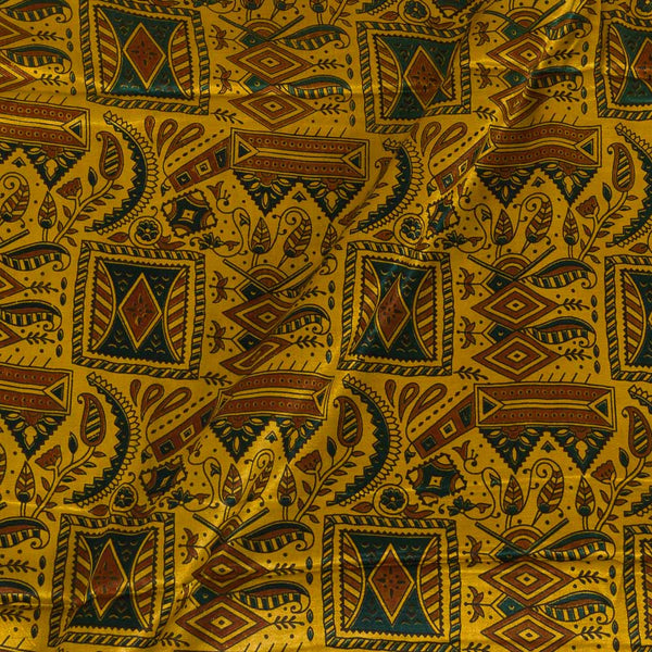Gaji Hand Block Print Mustard Colour Fabric