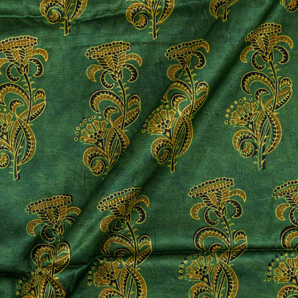 Gaji Hand Block Print Bottle Green Colour 45 Inches Width Fabric