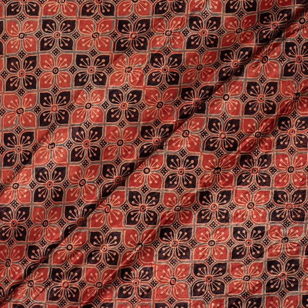 Brick Red Colour Geometric Hand Block Print Gaji Fabric