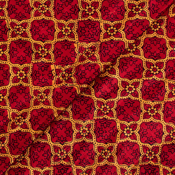 True Red Colour Hand Block Print Gaji Fabric