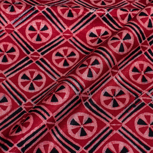 Red Colour Hand Block Print Gaji Fabric