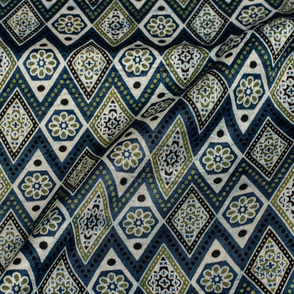 Steel Blue Colour Hand Block Print Gaji Fabric