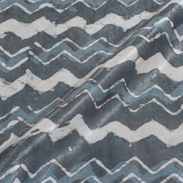 Steel Grey Colour Dabu Print Mashru Gaji Fabric