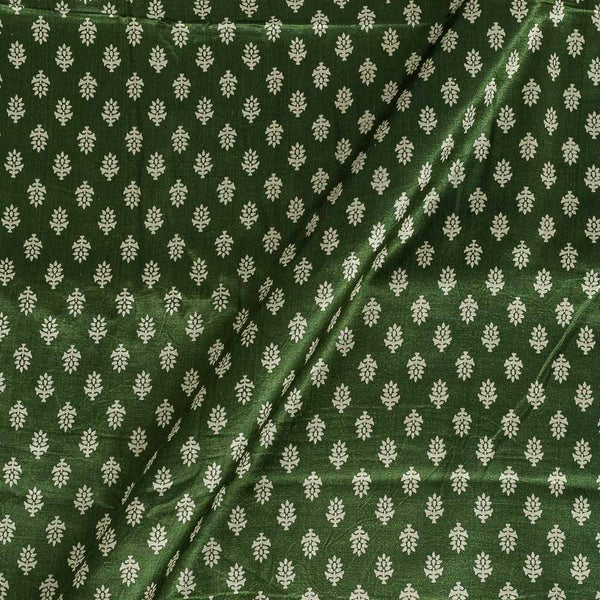 Gaji Bottle Green Colour 45 inches Width Floral Print Fabric
