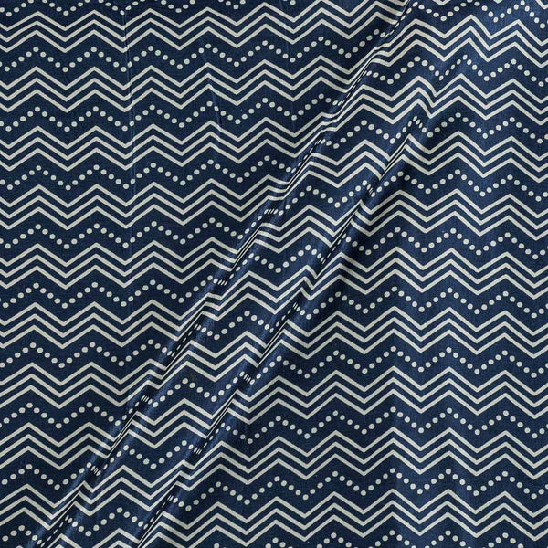 Gaji Navy Blue Colour 45 inches Width Chevron Print Fabric