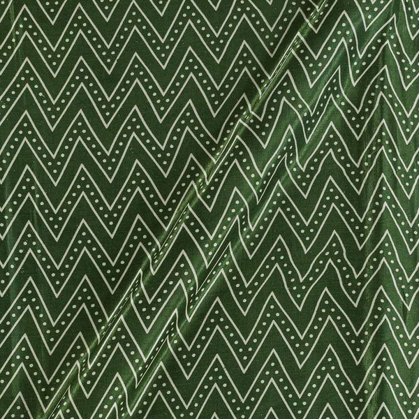 Gaji Bottle Green Colour 45 inches Width Chevron Print Fabric