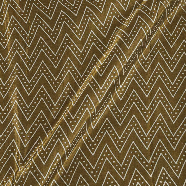 Gaji Mehendi Green Colour 45 inches Width Chevron Print Fabric