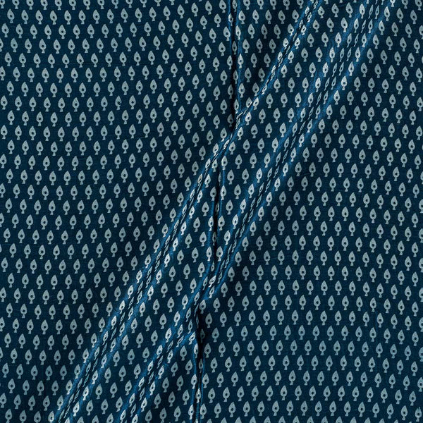 Gaji Midnight Blue Colour 45 inches Width Leaves Print Fabric
