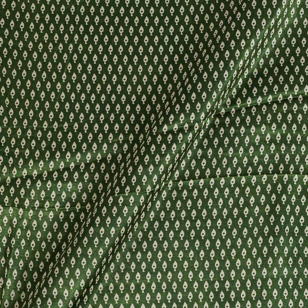 Mashru Gaji Bottle Green Colour 45 inches Width Leaves Print Fabric