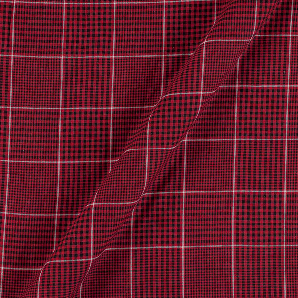 Cotton Maroon Colour 42 Inches Width 3x1 Checks Fabric