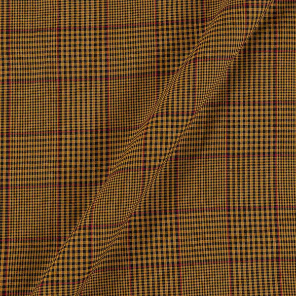 Cotton Mustard Colour 42 Inches Width 3x1 Checks Fabric