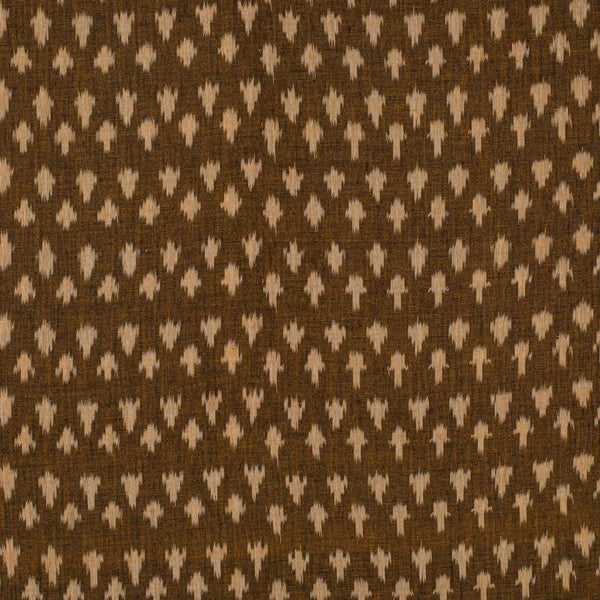 Mercerised Cotton Brown Colour 45 inches Width Azo Free Washed Ikat Fabric