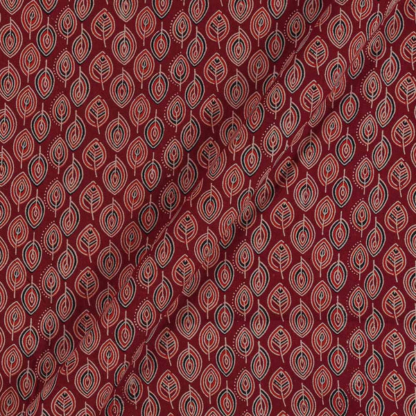 Ajarakh Inspired Maroon Red Colour Leaves Print 42 Inches Width Cotton Fabric