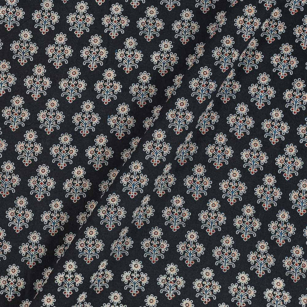 Ajarakh Inspired Carbon Black Colour Floral Print 42 Inches Width Cotton Fabric