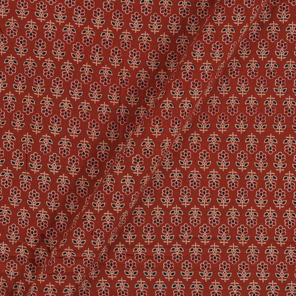 Ajarakh Inspired Brick Orange Colour Floral Print 42 Inches Width Cotton Fabric