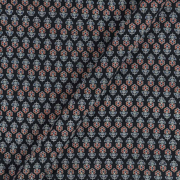 Ajarakh Inspired Deep Navy Blue Colour Floral Print 42 Inches Width Cotton Fabric